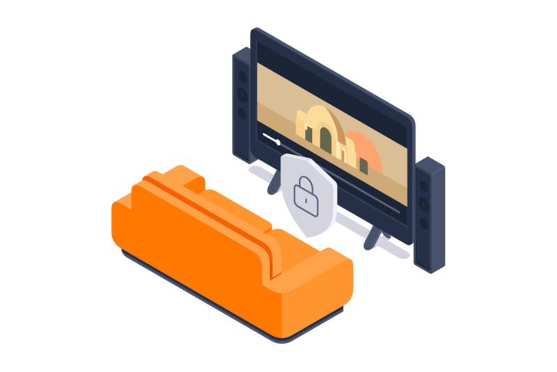 在运行 Android TV 的智能电视上安全地流式播放