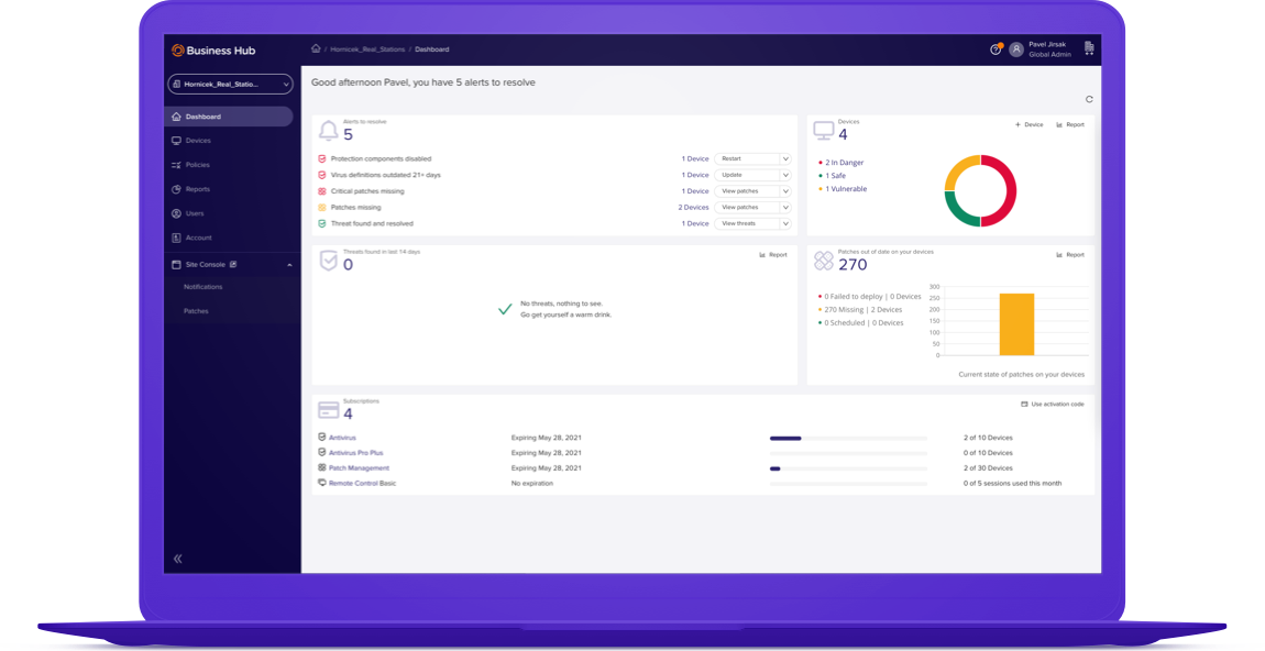 Manage all your Avast Business solutions in one easy-to-use platform