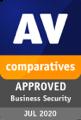 2020: Godkänd företagsprodukt<br/> av AV-Comparatives