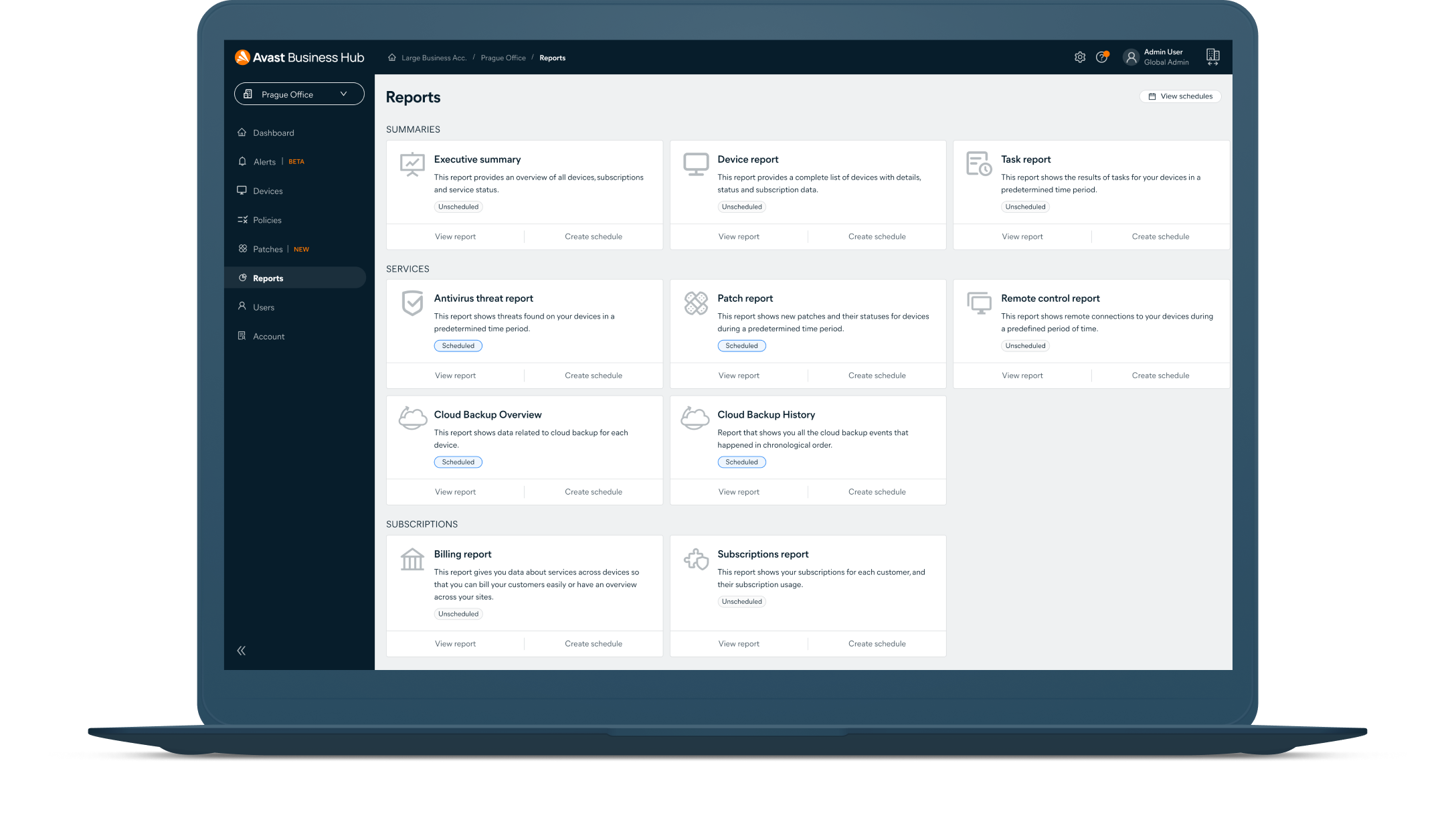 Easily manage all your Avast Business security solutions from a single dashboard.