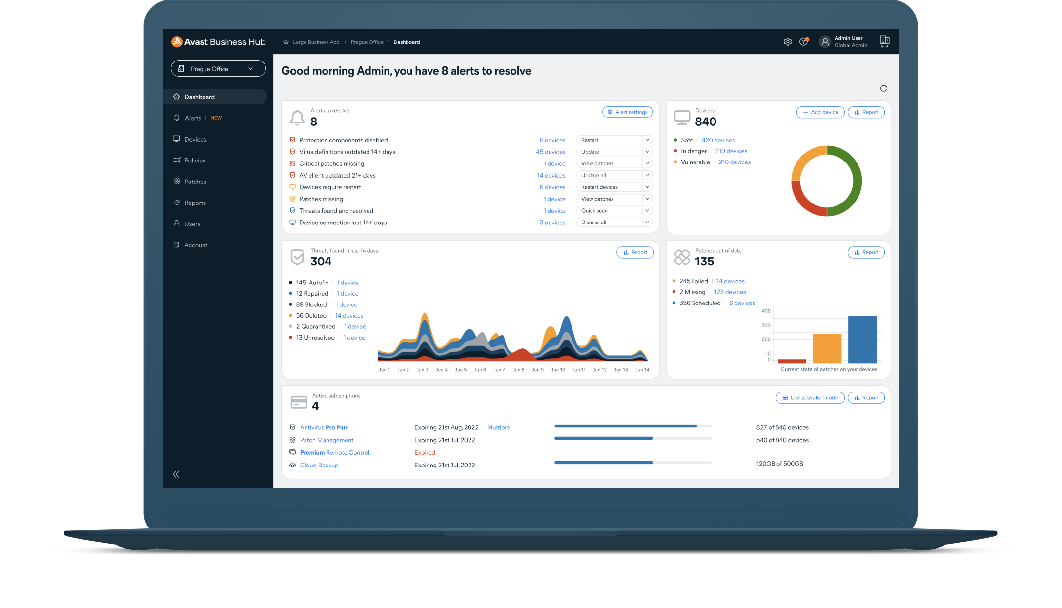 Easily manage all your Avast Business security solutions from one streamlined dashboard.