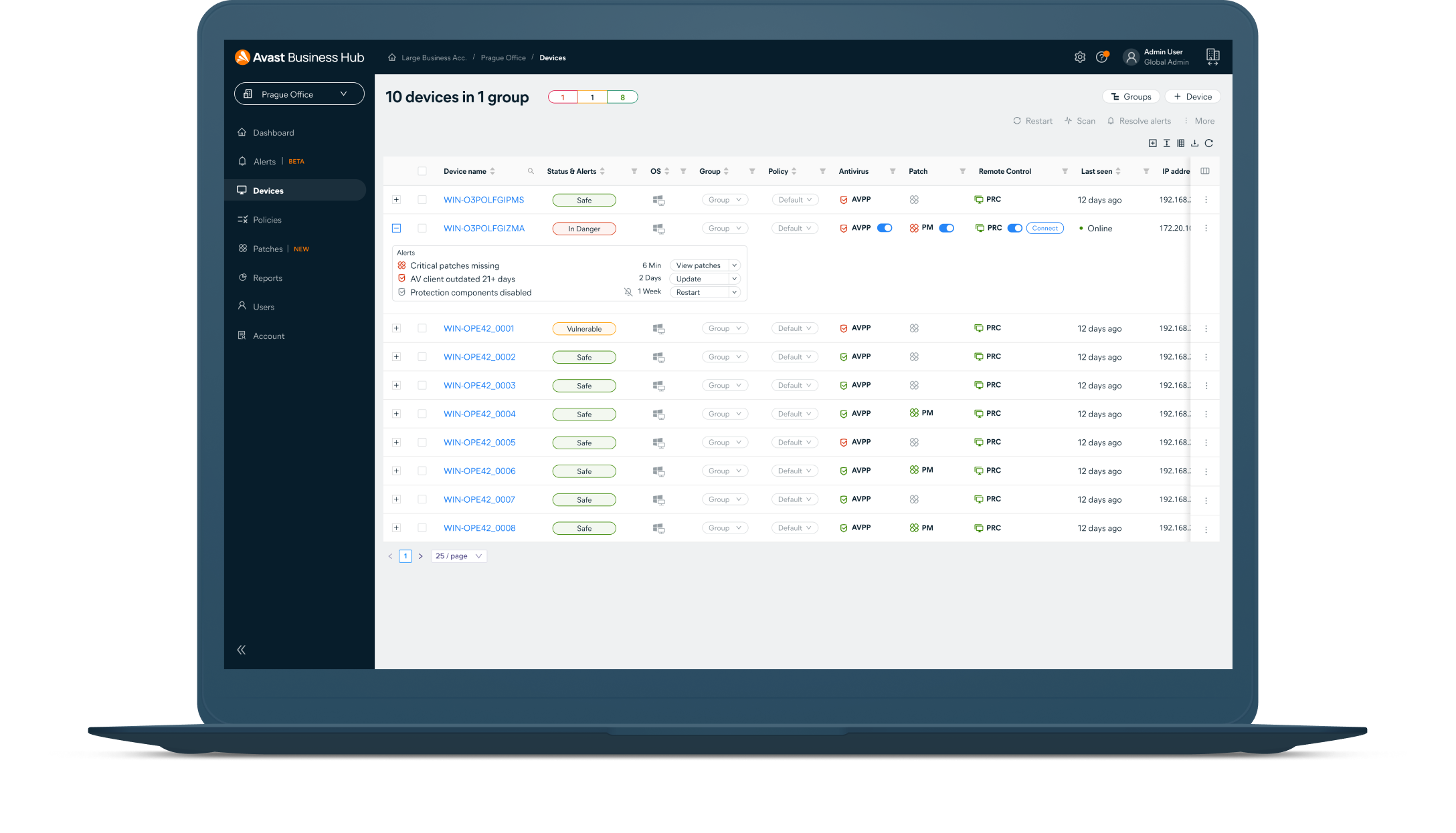 Manage security for all devices with the Business Hub agent. Policy changes will automatically configure themselves on the agent-controlled devices in real time, requiring less maintenance and making it easier to scale business operations.