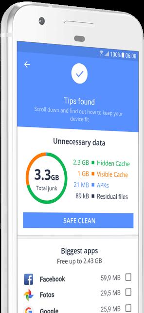 Snímek obrazovky saplikací Cleanup