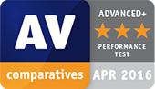 Test wydajności AV-Comparatives — nagroda Advanced+