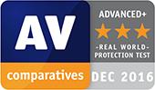 Test rzeczywistej ochrony AV-Comparatives — nagroda Advanced+