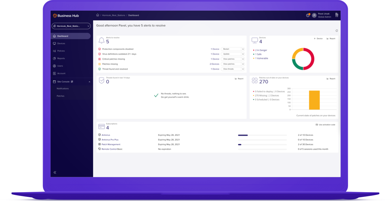 Avast Business Management Console