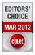 Onderscheiding van CNET Editors' Choice voor de maand maart 2012