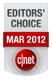 CNET - нагорода «Editors Choice» (Вибір редакції) за березень 2012 р.